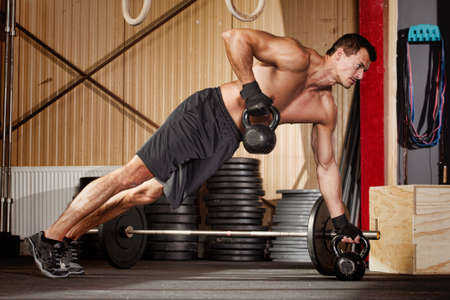 Photo for push up on kettlebells - Royalty Free Image