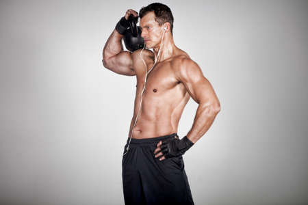 Photo for crossfit man holding kettlebell - Royalty Free Image