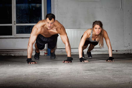 Photo for crossfit push up exercise - Royalty Free Image