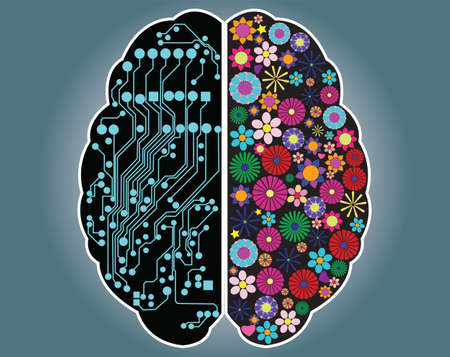 Illustration pour Left and right side of the brain, logic and creativity, vector - image libre de droit