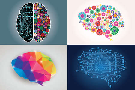 Illustration pour Collections of four different human brains, left and right side, creativity and logic, illustration - image libre de droit