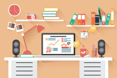 Ilustración de Home office desk - flat design - Imagen libre de derechos