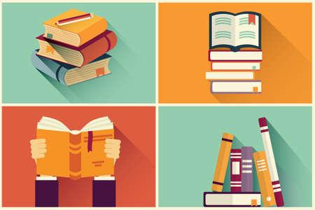 Illustration pour Set of books in flat design, vector illustration - image libre de droit