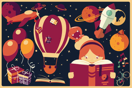 Illustration pour Background with imagination items and a girl reading a book, balloons, rocket ship, space, planets illustration - image libre de droit