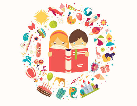 Illustration pour Imagination concept, boy and girl reading a book objects flying out, vector illustration - image libre de droit