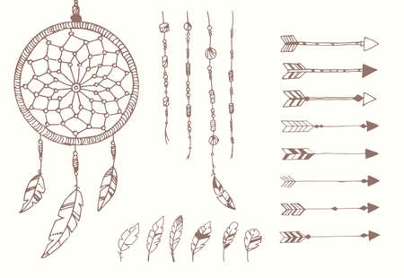 Hand drawn native american feathers, dream catcher, beads and arrows, vector illustration