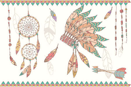 Hand drawn native american dream catcher indian chief headdress feathers beads and arrows vector illustration