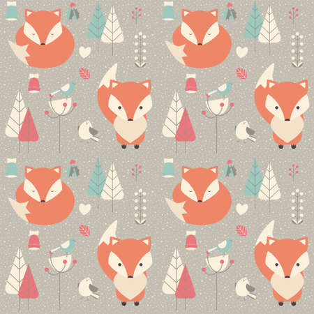 Ilustración de Seamless pattern with cute Christmas baby fox surrounded with floral decoration, vector illustration - Imagen libre de derechos