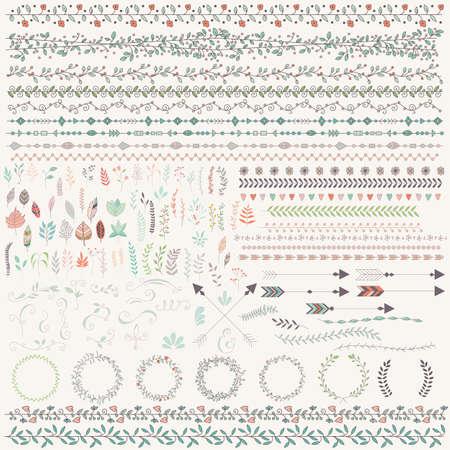 Illustration pour Hand drawn vintage leaves, arrows, feathers, wreaths, dividers, ornaments and floral decorative elements, vector illustration - image libre de droit