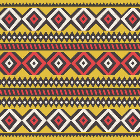 Illustration for Tribal ethnic colorful bohemian pattern with geometric elements, African mud cloth, tribal design, vector illustration  - Royalty Free Image