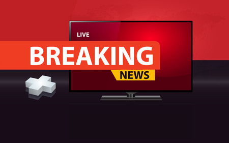 Illustration pour 3D plus sign with modern flat  screen TV, health care breaking news concept. - image libre de droit