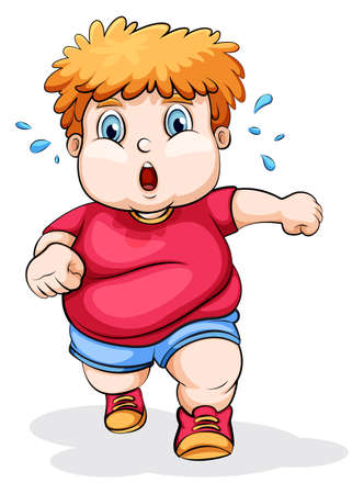 Illustration of a fat Caucasian kid running on a white background