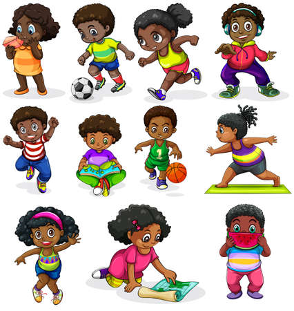 Ilustración de Illustration of the black kids engaging in different activities on a white background - Imagen libre de derechos