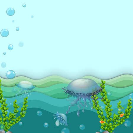 Ilustración de Illustration of the jellyfishes under the sea - Imagen libre de derechos