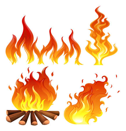 Illustration for Illustration of the set of flames on a white background - Royalty Free Image