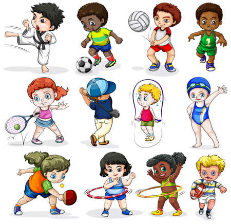 Ilustración de lllustration of the kids engaging in different sports activities on a white background - Imagen libre de derechos