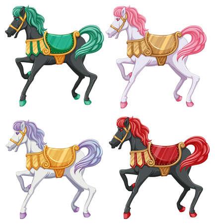 Illustration pour lllustration of the horse rides on a white background - image libre de droit