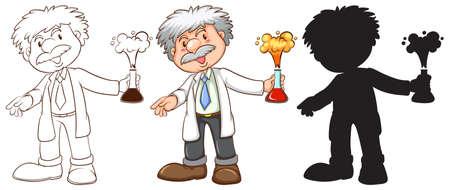 Ilustración de Illustration of a set of scientist - Imagen libre de derechos