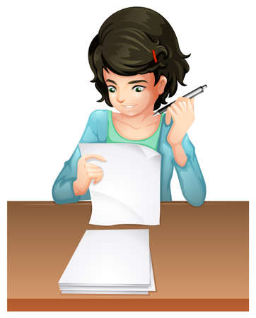 Illustration of a woman answering the testpapers on a white background