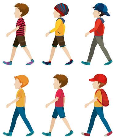 Ilustración de Template of the faceless boys walking on a white background - Imagen libre de derechos