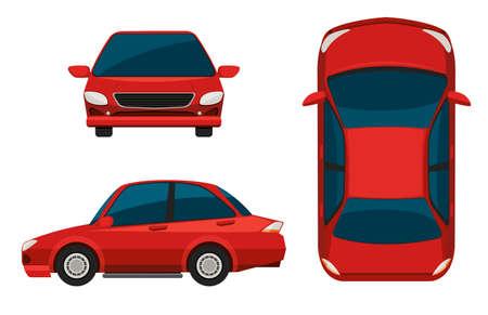 Ilustración de Illustration of different view of a red car - Imagen libre de derechos