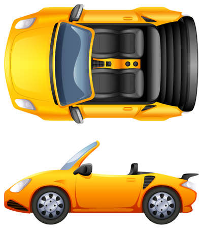 Illustration pour A top and side view of a sports car on a white background - image libre de droit
