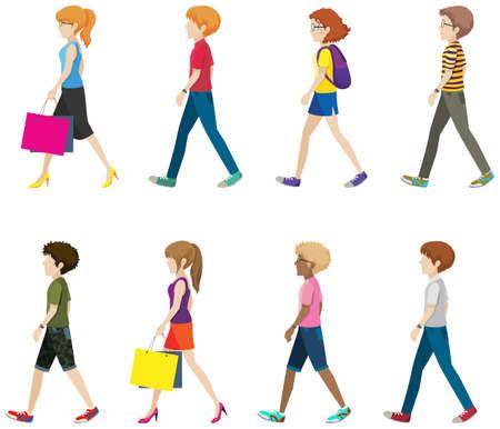Ilustración de Illustration of many people walking - Imagen libre de derechos