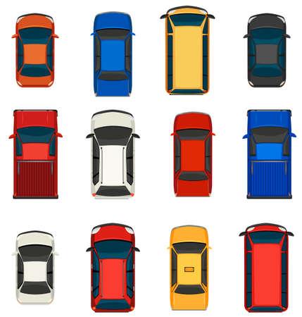 Ilustración de A topview of a group of vehicles on a white background - Imagen libre de derechos
