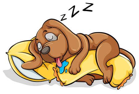 Ilustración de A dog sleeping with a pillow on a white background - Imagen libre de derechos