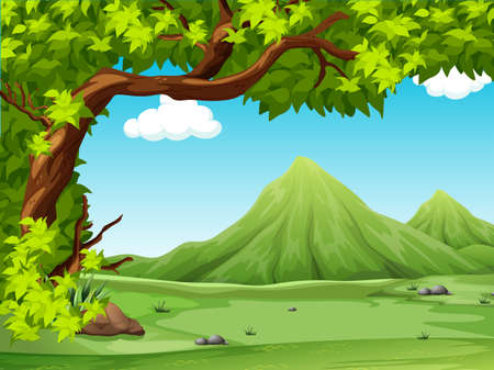 Illustration for Poster of a scenery view illustration - Royalty Free Image