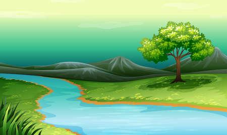Ilustración de Scenery of a lake and mountain illustration - Imagen libre de derechos