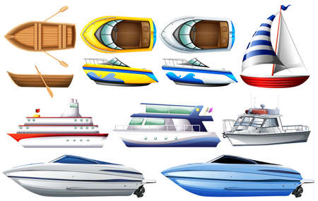 Ilustración de Set of boat and ship on white background - Imagen libre de derechos