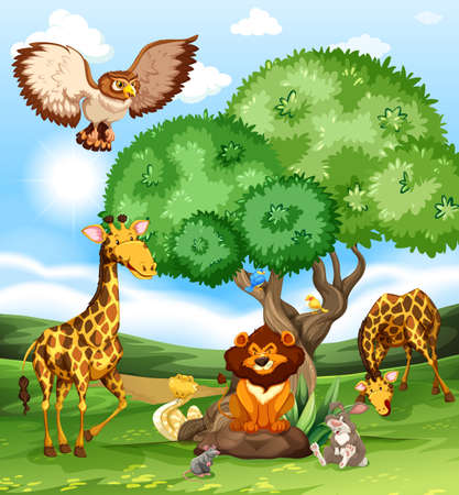 Illustration pour Animals gathering near a big tree - image libre de droit