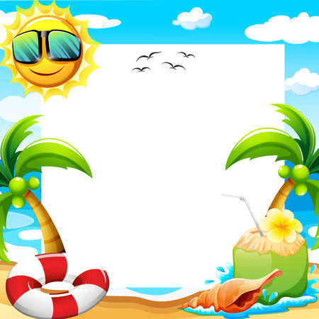 Illustration pour Blank poster with beach view at daytime - image libre de droit