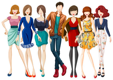 Illustration pour Many models wearing fashionable clothes - image libre de droit