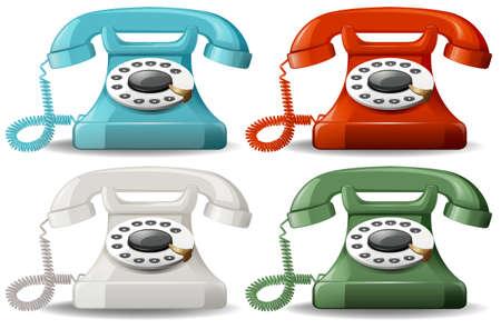 Illustration pour Retro telephones in four different colors - image libre de droit