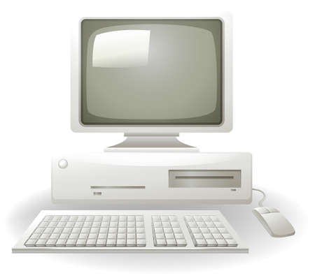 Illustration pour Old personal computer with keyboard and mouse - image libre de droit