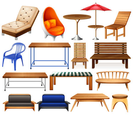 Ilustración de Different kind of modern and classic furniture - Imagen libre de derechos