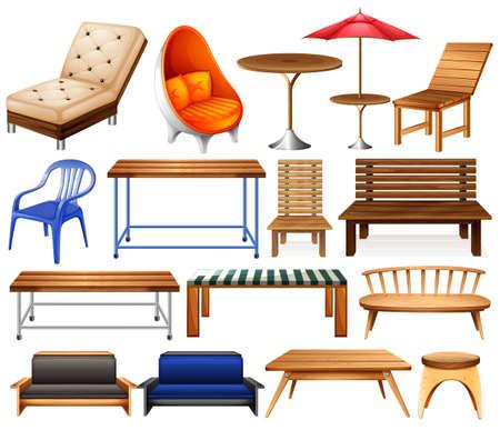 Illustration pour Different kind of modern and classic furniture - image libre de droit
