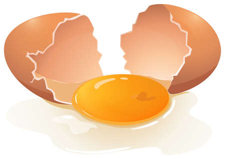 Illustration for Cracking egg with egg yolk in the middle - Royalty Free Image