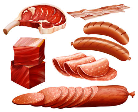 Set of different kind of meat products