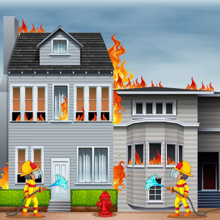 Illustration for Fireman putting down the fire at the house - Royalty Free Image