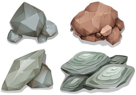 Illustration pour Set of different pattern rocks on white background - image libre de droit