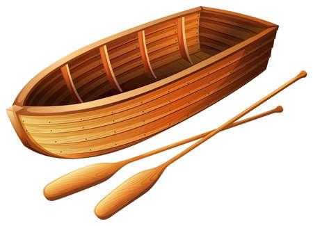 Ilustración de Wooden boat on white illustration - Imagen libre de derechos