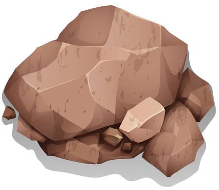 Illustration pour Brown heavy rocks on the ground - image libre de droit