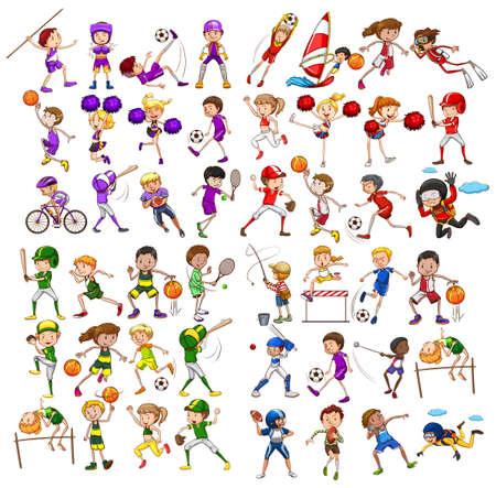 Ilustración de Kids playing various sports illustration - Imagen libre de derechos