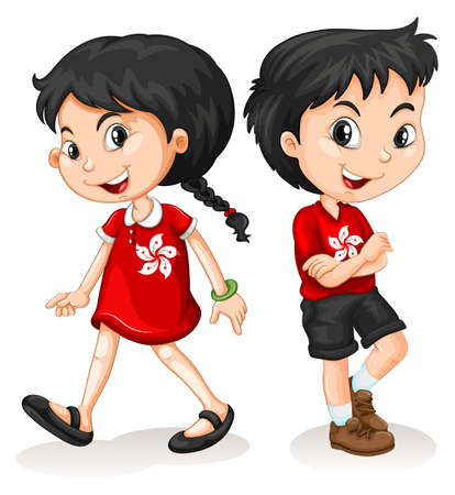Illustrazione per Little boy and girl from Hong Kong illustration - Immagini Royalty Free