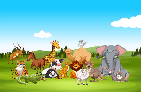 Illustration pour Wild animals in nature illustration - image libre de droit
