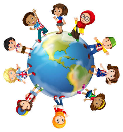 Illustration pour Children standing on globe illustration - image libre de droit