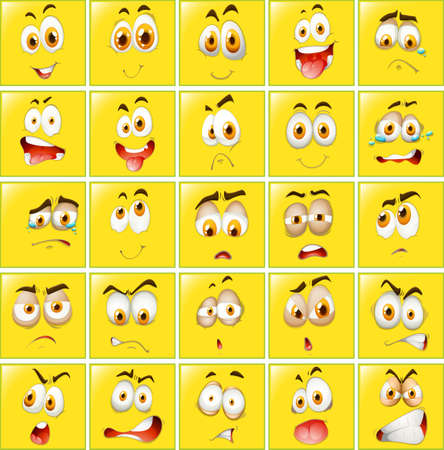Ilustración de Facial expressions on yellow badges illustration - Imagen libre de derechos